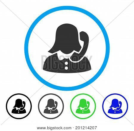 Receptionist rounded icon. Vector illustration style is a flat iconic symbol inside a circle, black, gray, blue, green versions. Designed for web and software interfaces.