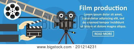 Film production banner horizontal concept. Flat illustration of film production banner horizontal vector concept for web