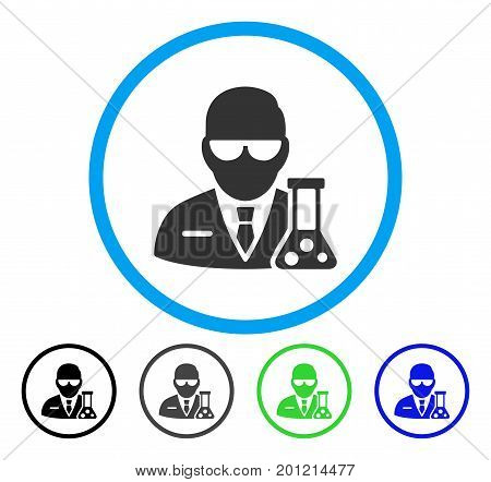 Scientist rounded icon. Vector illustration style is a flat iconic symbol inside a circle, black, grey, blue, green versions. Designed for web and software interfaces.