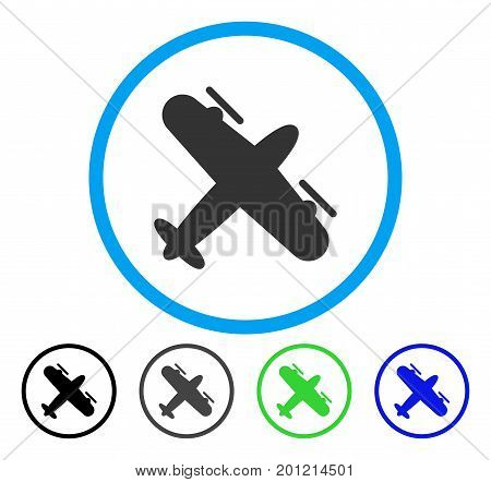 Screw Aeroplane rounded icon. Vector illustration style is a flat iconic symbol inside a circle, black, grey, blue, green versions. Designed for web and software interfaces.