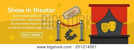 Show in theater banner horizontal concept. Flat illustration of show in theater banner horizontal vector concept for web