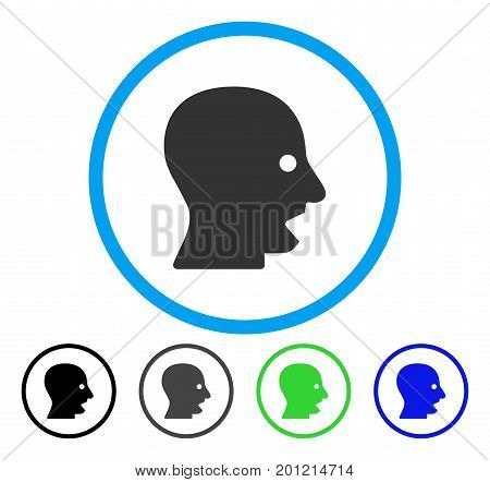 Shouting Head rounded icon. Vector illustration style is a flat iconic symbol inside a circle, black, grey, blue, green versions. Designed for web and software interfaces.