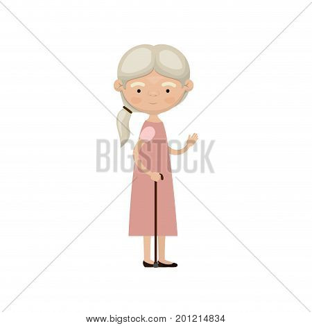 colorful full body elderly woman in walking stick with dress and ponytail side hairstyle vector illustration