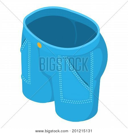 Short jeans icon. Isometric illustration of short jeans vector icon for web