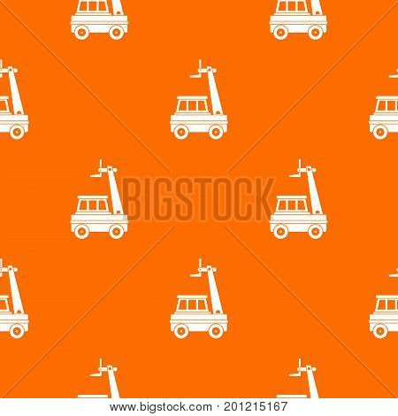 Cherry picker pattern repeat seamless in orange color for any design. Vector geometric illustration