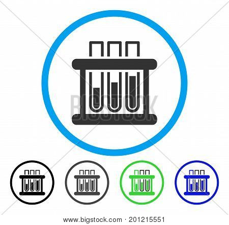 Test Tubes rounded icon. Vector illustration style is a flat iconic symbol inside a circle, black, gray, blue, green versions. Designed for web and software interfaces.
