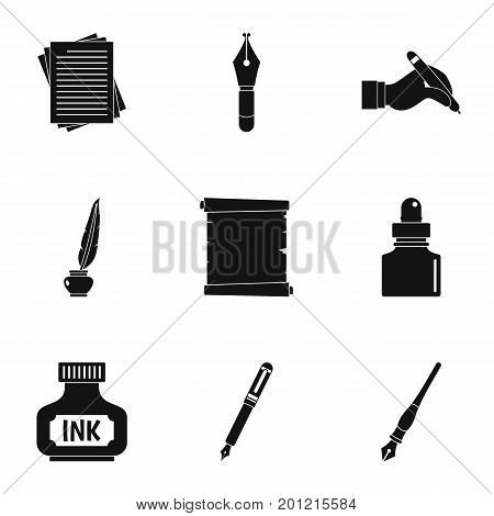 School pen icon set. Simple set of 9 school pen vector icons for web isolated on white background
