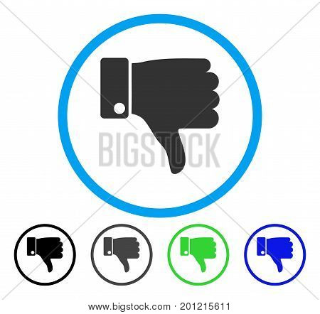 Thumb Down rounded icon. Vector illustration style is a flat iconic symbol inside a circle, black, grey, blue, green versions. Designed for web and software interfaces.