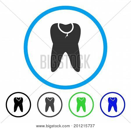 Tooth Caries rounded icon. Vector illustration style is a flat iconic symbol inside a circle, black, gray, blue, green versions. Designed for web and software interfaces.