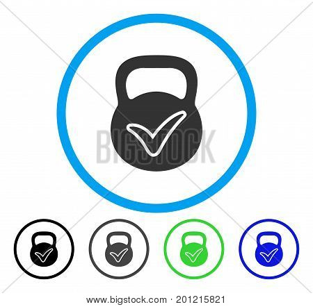 Valid Mass rounded icon. Vector illustration style is a flat iconic symbol inside a circle, black, grey, blue, green versions. Designed for web and software interfaces.