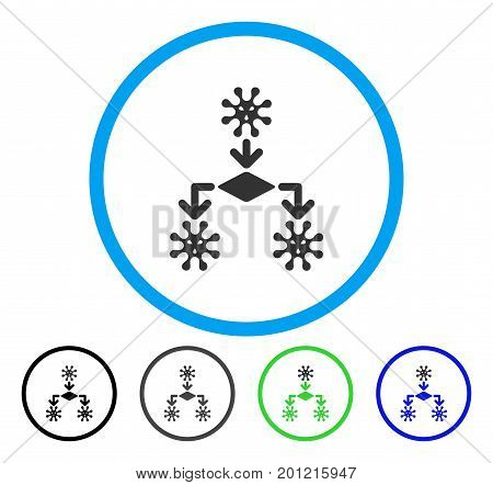 Virus Reproduction rounded icon. Vector illustration style is a flat iconic symbol inside a circle, black, grey, blue, green versions. Designed for web and software interfaces.