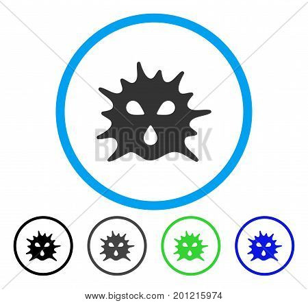 Virus Structure rounded icon. Vector illustration style is a flat iconic symbol inside a circle, black, grey, blue, green versions. Designed for web and software interfaces.