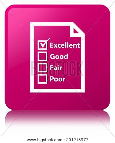 Questionnaire Icon Pink Square Button