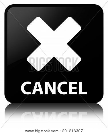 Cancel Black Square Button