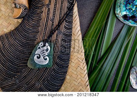 New Zealand - Maori Themed Objects - Mere And Metal And Greenstone Pendant With Flax Leaves And Abal