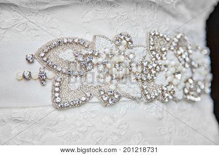 Gorgeous, beautiful, stunning wedding dress belt with jewels, rhinestones, diamonds and pearls.