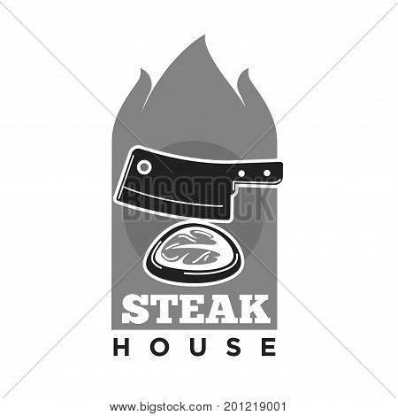 Steak house restaurant logo template of meat beefsteak chop grilled on fire and hatchet knife for barbecue or gourmet cafe and butchery shop