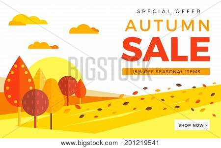 Sale Promotion Web Banner With Autumn Background. Promo Fall Season Discount Layout With Rural Lands