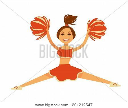 Cheerleader in orange uniform that includes top and skirt with pompons in hands and ponytail on head jumps in split isolated vector illustration on white background. Fit sportive female character.