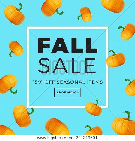 Sale Promotion Web Banner With Autumn Background. Promo Fall Season Discount Layout With Pumpkin Pat