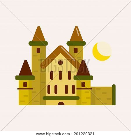 Ancient brick castle with cone roofs, tall solid towers and yellow crescent above isolated cartoon flat vector illustration on white background. Old dwelling for royal families from fairy tales.