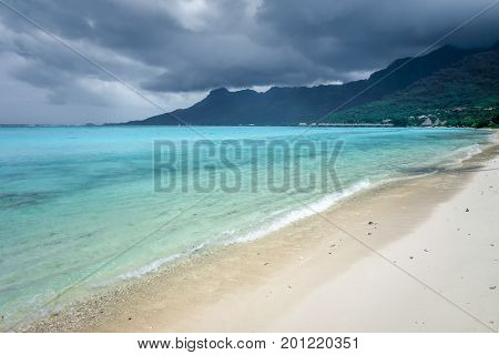 Cloudy Sky On Temae Beach Lagoon In Moorea Island