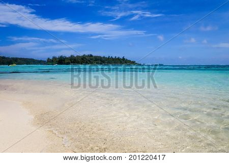 Tropical White Sand Beach And Lagoon In Moorea Island