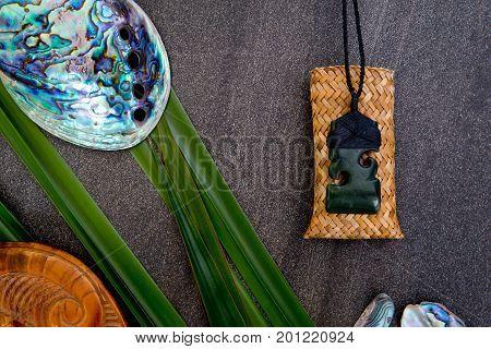 New Zealand - Maori Themed Objects - Pounamu Greenstone Pendant With Flax Leaves And Abalone Shells