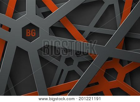 Design A Background With A Cobweb Of Black And Red Lines And Hexagons At Their Intersection