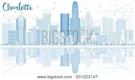 Outline Charlotte Skyline with Blue Buildings and Reflections. Business Travel and Tourism Concept with Modern Architecture. Image for Presentation Banner Placard and Web Site.