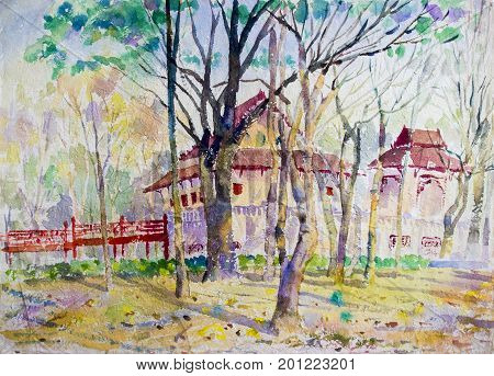 Watercolor landscape original painting colorful of Hall made a ritual and introspection in green tree emotion background