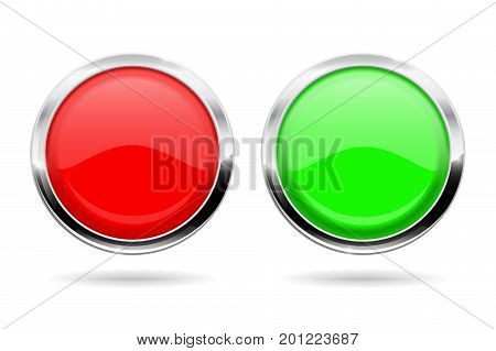 Green and red round buttons with chrome frame. Vector illustration isolated on white background