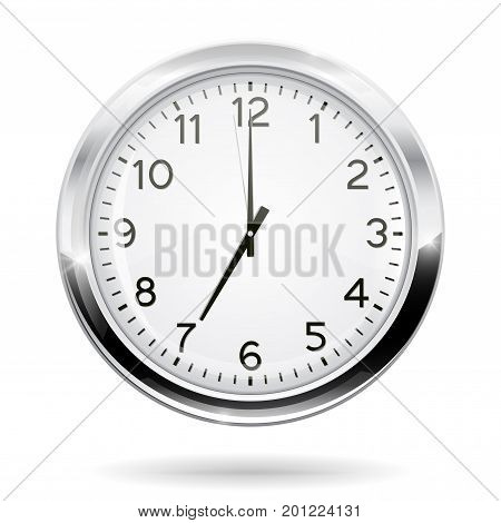 Clock. 7 o clock. Vector illustration isolated on white background