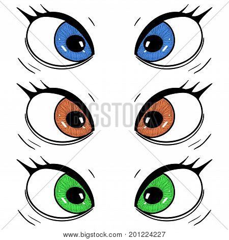 Eyes. Hand drawn cartoon sketch. Vector illustration isolated on white background
