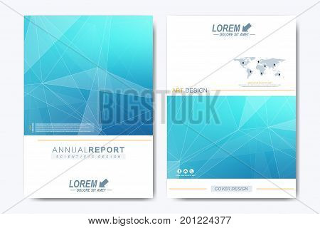 Modern vector template for brochure, Leaflet flyer, advert, cover, catalog, magazine or annual report. Business, science, medical design. Scientific pattern structure molecule DNA. Card surface
