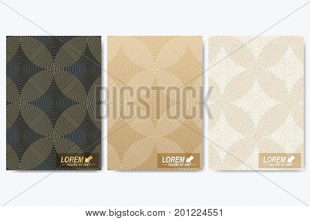 Modern vector template for brochure, Leaflet, flyer, cover, booklet, magazine or annual report. A4 size. Abstract golden presentation book layout. Geometric pattern with lines