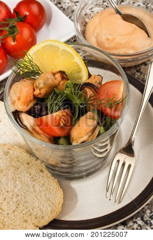 scottish mussel salad with home made sauce and fresh tomato