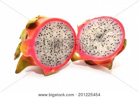 dragon fruit pitaya cross section isolated on white