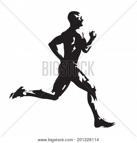 Running man abstract vector silhouette side view