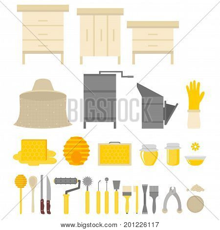 Flat design elements of Beekeeping and apiculture. Beekeeper Tools and equipment set. Apiary Instrument isolated. Beehive and Honeycomb. Honey in jar.