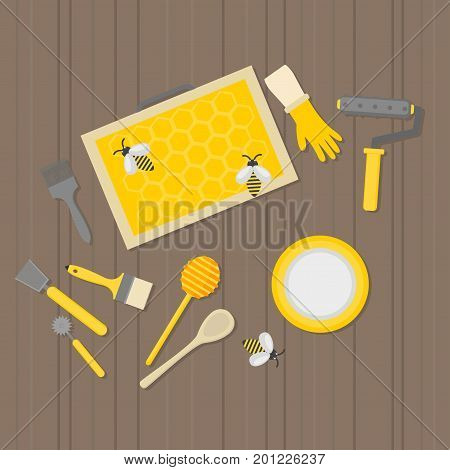 Flat design elements of Beekeeping and apiculture. Beekeeper Tools and equipment set. Apiary Instrument isolated. Honeycomb. Honey in jar