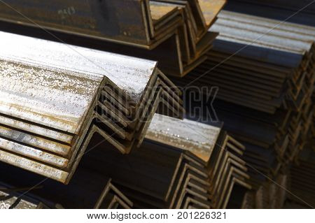 Metal profile angle in packs at the warehouse of metal products Russia