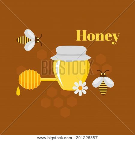 Flat design elements of Beekeeping and apiculture. Beekeeper Tools and equipment set. Apiary Instrument isolated. Natural organic Honey in jar