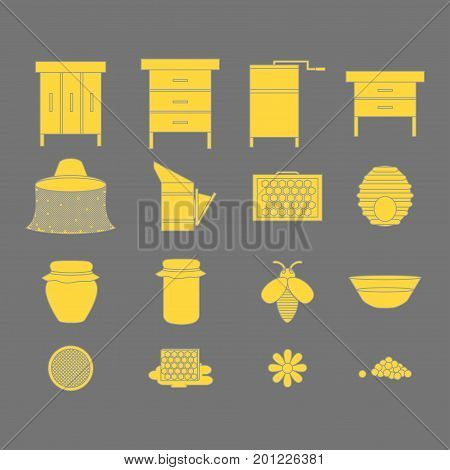 Flat outline design elements of Beekeeping and apiculture. Beekeeper Tools and equipment set. Apiary Instrument isolated. Beehive and Honeycomb. Honey in jar