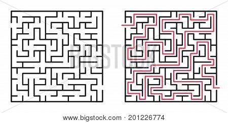 Abstract maze / labyrinth with entry and exit. Vector labyrinth 195.