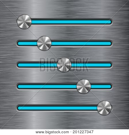 Metal slider bar with blue line. Vector illustration