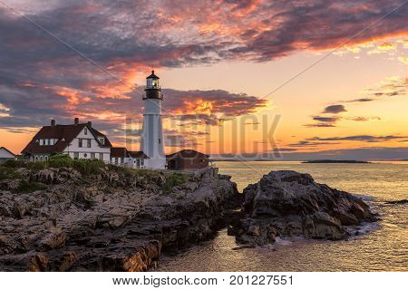 Portland Head Lighthouse in Portland, Maine at sunrise