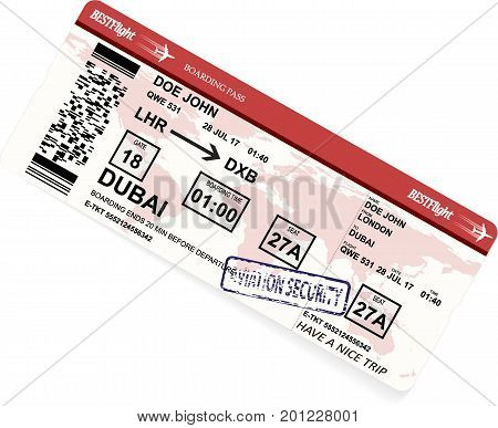 Vector illustration of red pattern of a boarding pass or air ticket with map of world on background