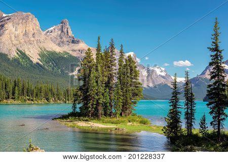 Spirit Island in Maligne Lake, Jasper National Park poster