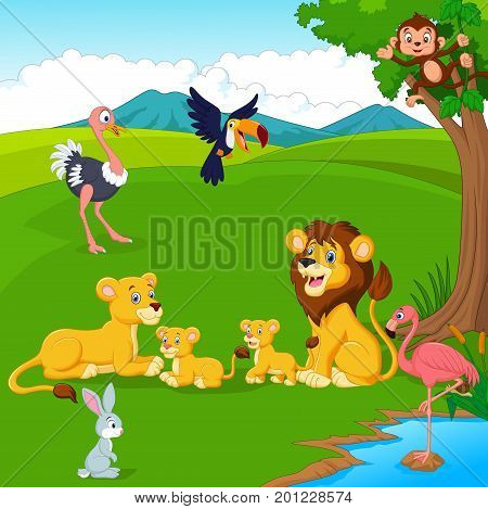 Vector illustration of Cartoon lion family in the jungle